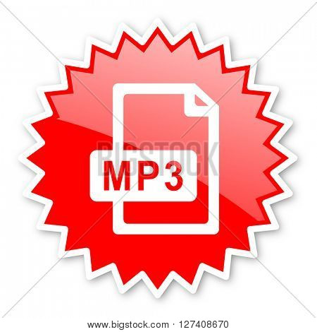 mp3 file red tag, sticker, label, star, stamp, banner, advertising, badge, emblem, web icon