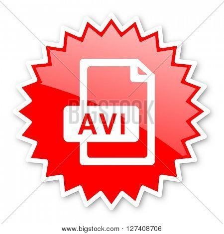 avi file red tag, sticker, label, star, stamp, banner, advertising, badge, emblem, web icon