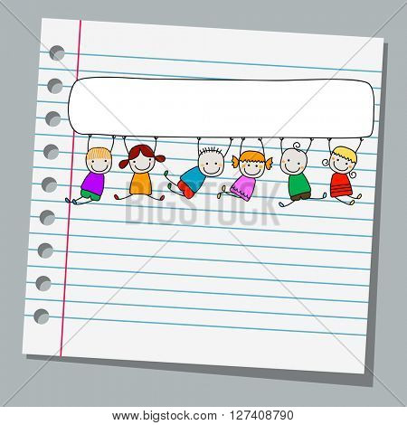 notebook paper happy kids with banner