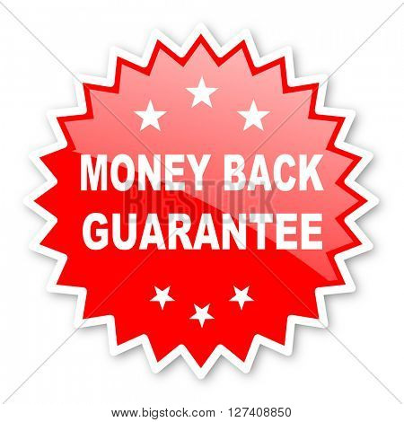 money back guarantee red tag, sticker, label, star, stamp, banner, advertising, badge, emblem, web icon