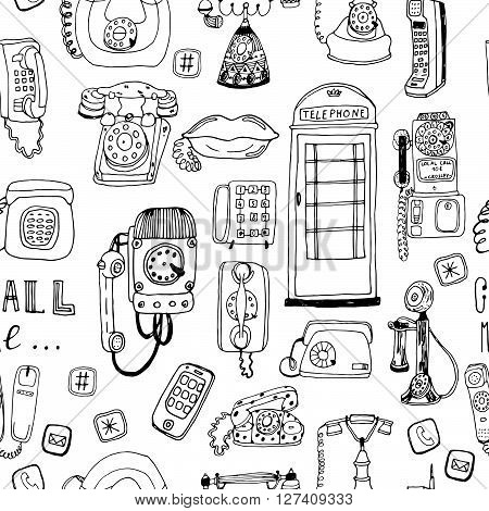 Call Me, Baby seamless vector pattern. Adorable retro phones and all kind of phones for textile, web, scrapbook paper, stationary.