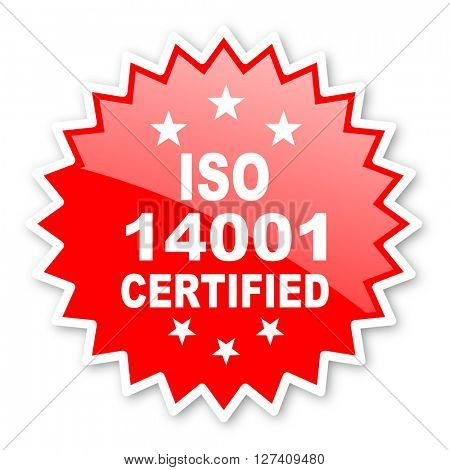 iso 14001 red tag, sticker, label, star, stamp, banner, advertising, badge, emblem, web icon