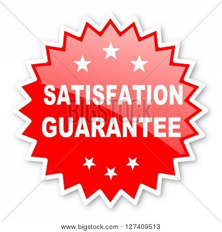 satisfaction guarantee red tag, sticker, label, star, stamp, banner, advertising, badge, emblem, web icon