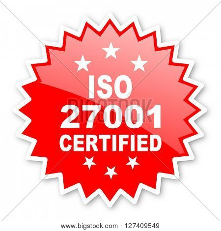 iso 27001 red tag, sticker, label, star, stamp, banner, advertising, badge, emblem, web icon