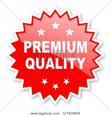 premium quality red tag, sticker, label, star, stamp, banner, advertising, badge, emblem, web icon