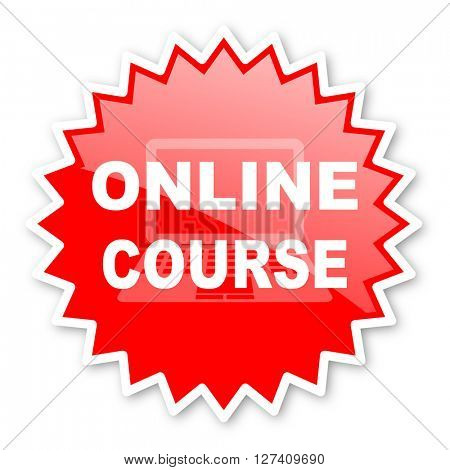 online course red tag, sticker, label, star, stamp, banner, advertising, badge, emblem, web icon