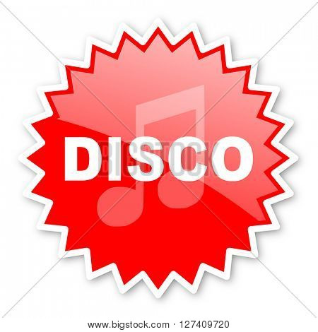 disco music red tag, sticker, label, star, stamp, banner, advertising, badge, emblem, web icon