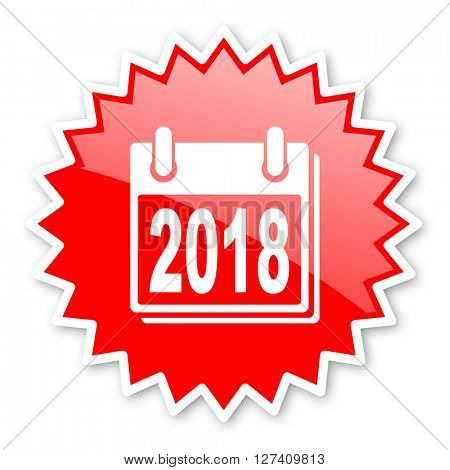 new year 2018 red tag, sticker, label, star, stamp, banner, advertising, badge, emblem, web icon