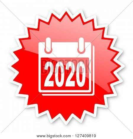 new year 2020 red tag, sticker, label, star, stamp, banner, advertising, badge, emblem, web icon