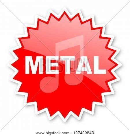 metal music red tag, sticker, label, star, stamp, banner, advertising, badge, emblem, web icon