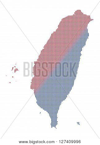 Taiwan Dot Map Red And Blue
