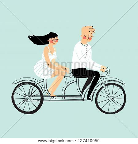 Vector flat design happy young man and woman characters couple riding tandem bicycle isolated. Young hipsters couple riding twin bike laughing happy