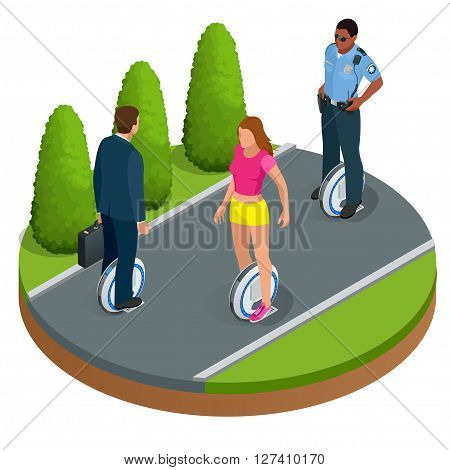 People on One-wheeled Self-balancing electric scooter vector isometric illustrations. Intelligent and fashionable personal transportation tool with interactive function. Concise, fashionable design