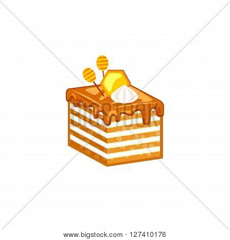 Honey cake slice isolated on white background decorated honeycomb and meringues. Vector illustration for tasty bakery