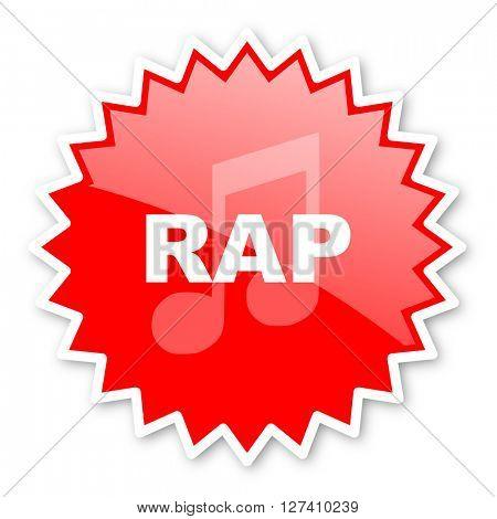 rap music red tag, sticker, label, star, stamp, banner, advertising, badge, emblem, web icon