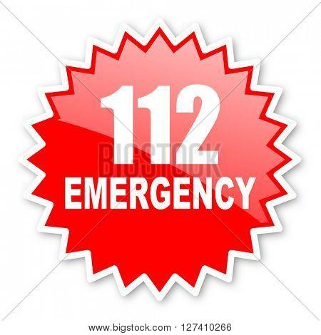 number emergency 112 red tag, sticker, label, star, stamp, banner, advertising, badge, emblem, web icon