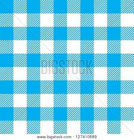 Blue tablecloth seamless pattern. Vector illustration of traditional gingham dining cloth with fabric texture. Checkered picnic cooking tablecloth.