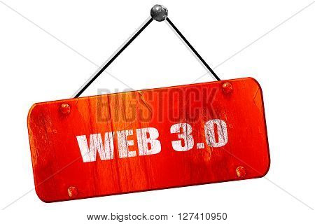 web 3.0, 3D rendering, red grunge vintage sign
