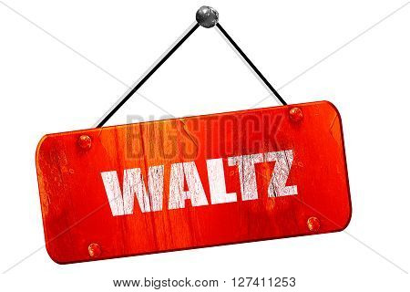 waltz dance, 3D rendering, red grunge vintage sign