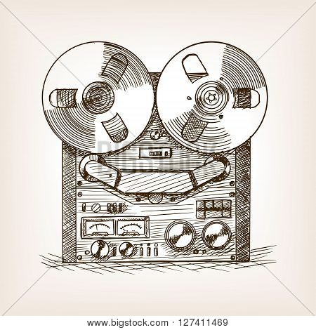 Tape recorder sketch style vector illustration. Old hand drawn engraving imitation.