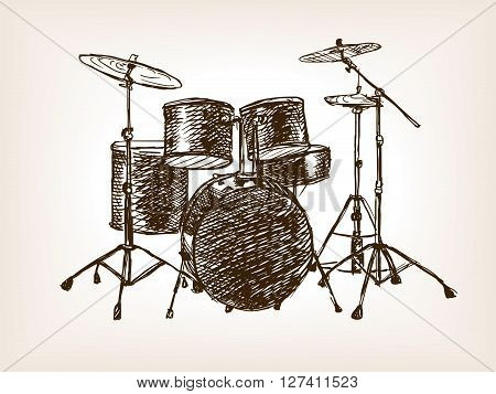 Drum set sketch style vector illustration. Old hand drawn engraving imitation.