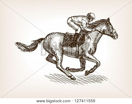 Horse races sketch style vector illustration. Old hand drawn engraving imitation.