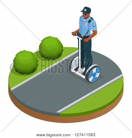 Police officer on fashionable two-wheeled Self-balancing electric scooter vector isometric illustrations. Intelligent and fashionable personal transportation tool with interactive function