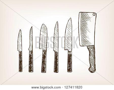 Knife set sketch style vector illustration. Old engraving imitation.