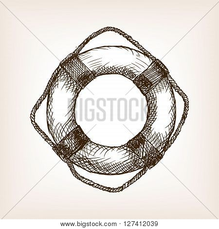 Lifebuoy sketch style vector illustration. Old engraving imitation.