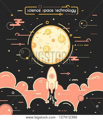 Space vector landscape illustration in outline style - rocket launch to moon. Science and exploring concept image. Rocket flying above the clouds into space. Business success concept illustration. Poster with rocket and moon in retro colors