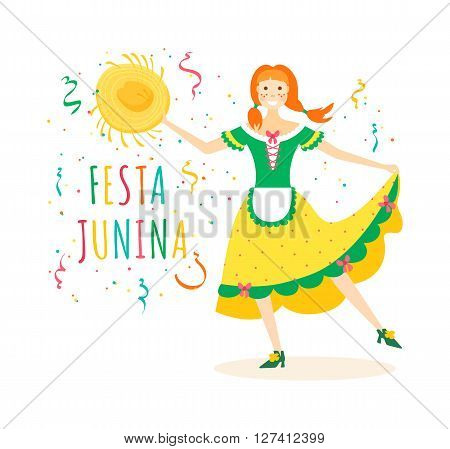 Festa Junina traditional Brazilian celebration vector illustration. Latin American traditional june feast. Cute girl in rustic dress is holding straw hat and dancing. Festa junina card invitation design