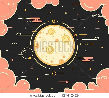 Moon planet with the clouds thin outline vector illustration on dark background. Space landscape with full moon in night sky with pink clouds and stars. Moon symbol in outline style