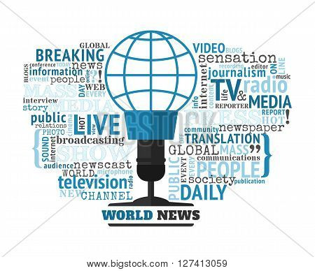 World news concept vector illustration. Mass media typographical concept with different words on this theme. World news logo looks like a microphone with the blue globe symbol.