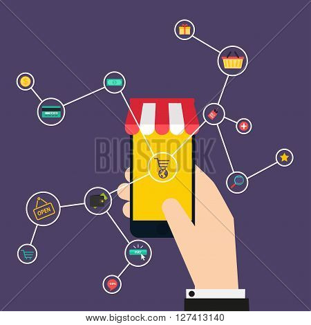Internet Of Things Concept. Shopping Icons. Hand Holding A Smartphone, Revealing A Net Of Wireless C