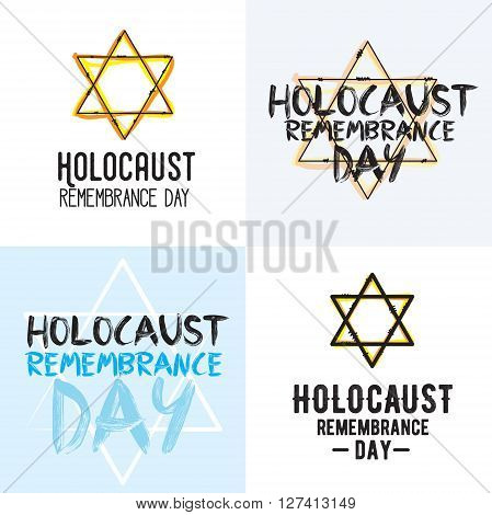 Holocaust remembrance day typography set. 5 may. Jewish star. Vector banner, card or logo.