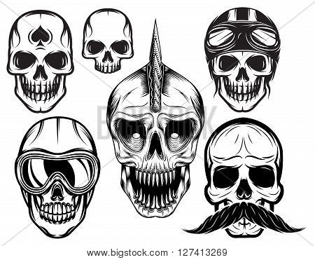 a set of six different skulls for design