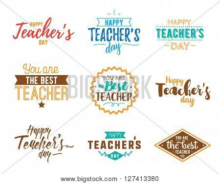 Happy teachers day vector typography set. Lettering design for greeting card, logo, stamp or banner.