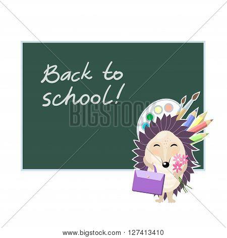 Back to school. Funny cartoon hedgehog going to school