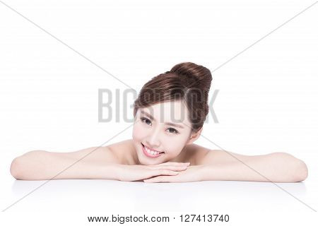 Charming woman face Smile to you close up while lying isolated on white background asian girl