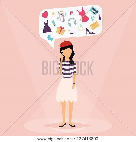 Woman Talking On Mobile Phone. Speech Bubbles With Icons Love, Shopping, Work, Hobbies. Vector Illus