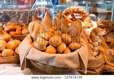 Baskets of Fresh Bread and Rolls on Table