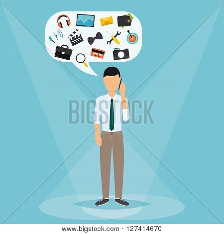 Man Talking On Mobile Phone. Speech Bubbles With Icons Technology, Money, Work, Hobbies. Vector Illu