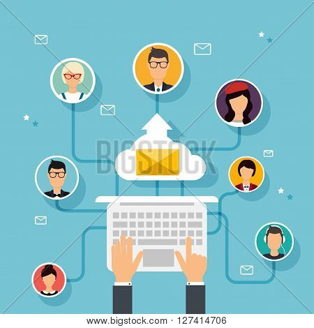 Running Campaign, Email Advertising, Direct Digital Marketing. Email Marketing. Set Of People Avatar