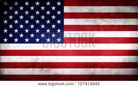 American flag painted on the wall. American flag background