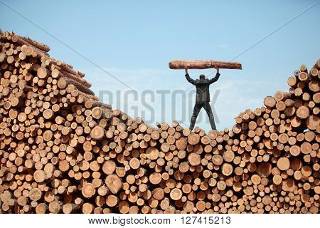 Hardworking Business Man on top of large pile of logs lifting heavy log - back view