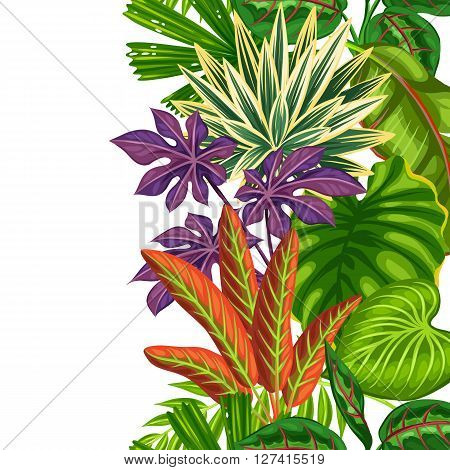 Seamless vertical border with tropical plants and leaves. Background made without clipping mask. Easy to use for backdrop, textile, wrapping paper.