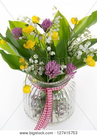 Nice Bouquet Of Bright Wildflowers And Lilly Of The Valley, Isolated On White