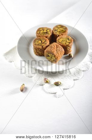 Pistachio baklava. A typical Middle-eastern sweet.