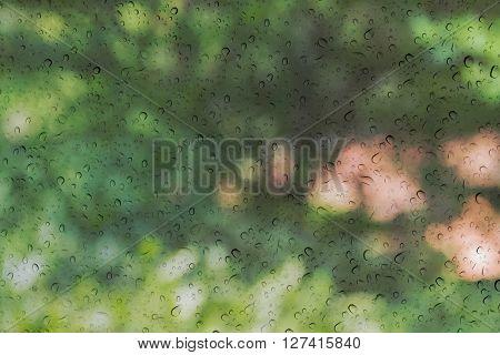 Blurred Tree Bokeh Background Behind Rain Drop On Mirror Glass Window