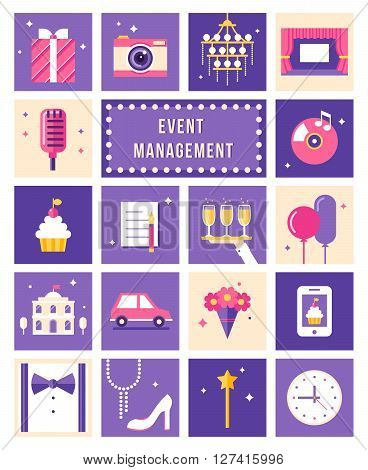 Event Management , Party and Celebation Flat Style Vector Icons Set